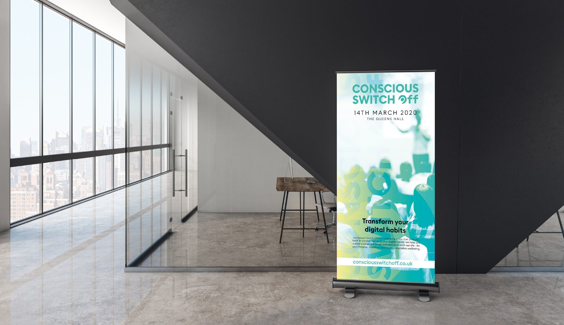 A promotional banner outside an event