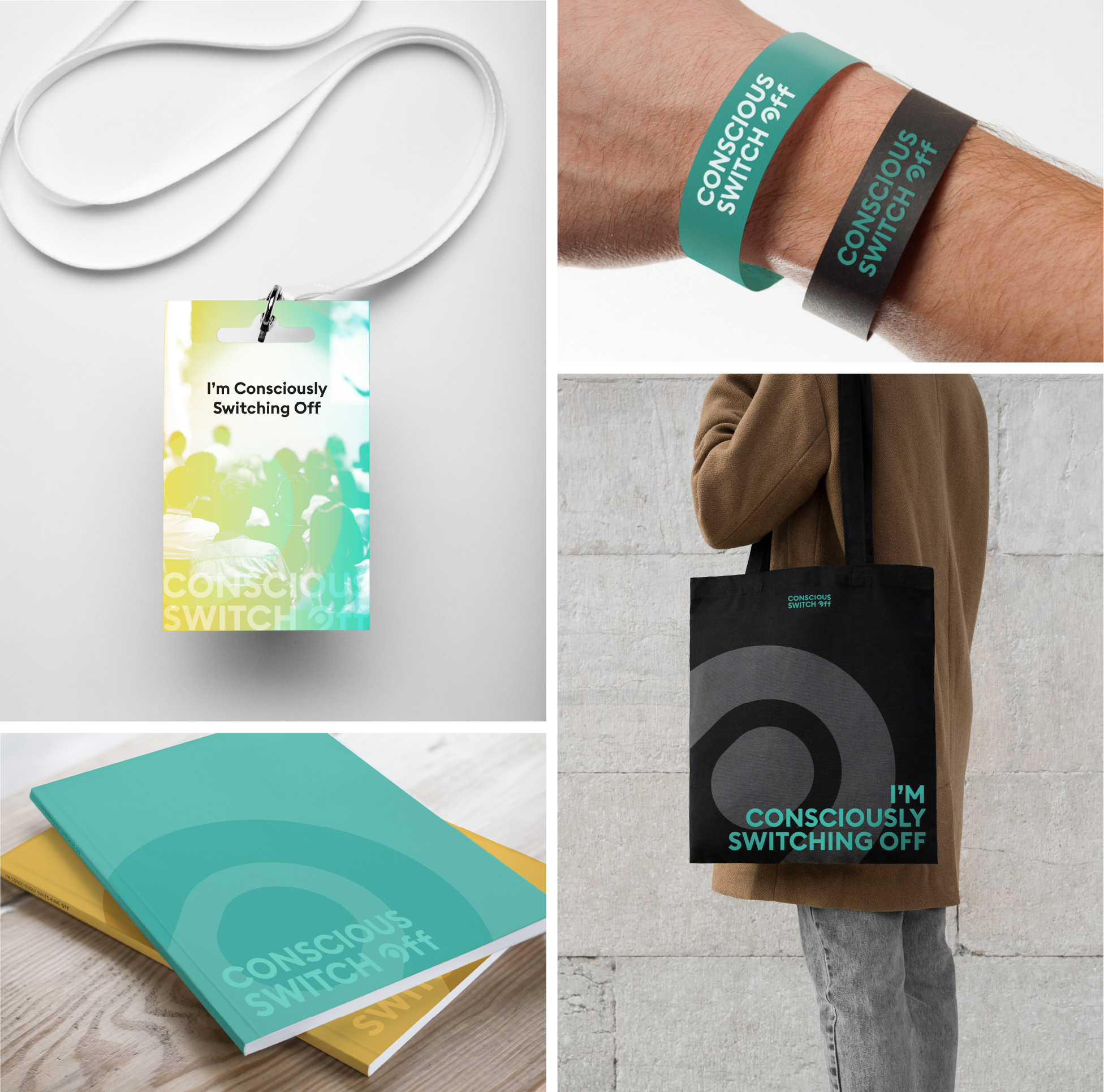 Promotional items for a wellbeing event - lanyards, wristbands, bags and booklets