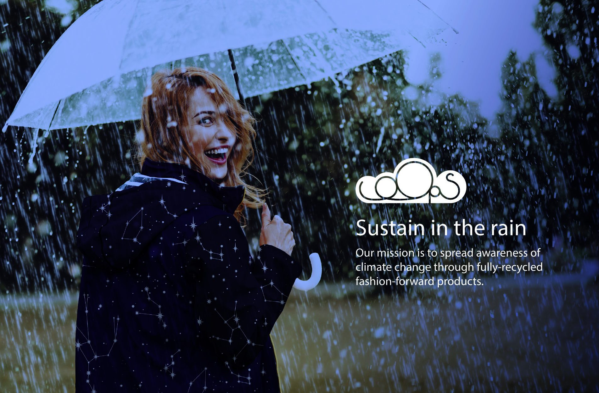 Loops advert - a woman caught in the rain