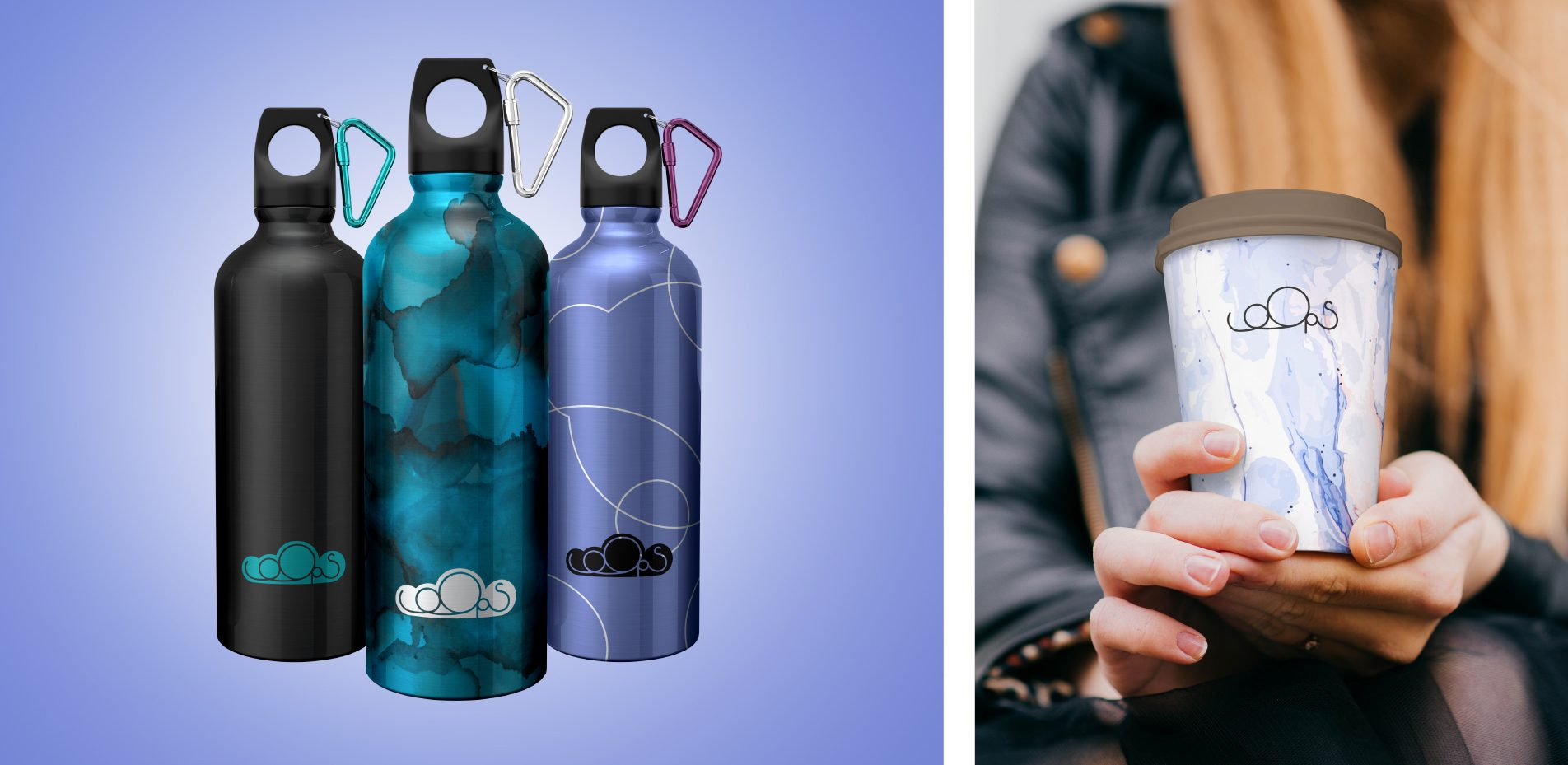 Branded products - water bottles and reusable coffee cups