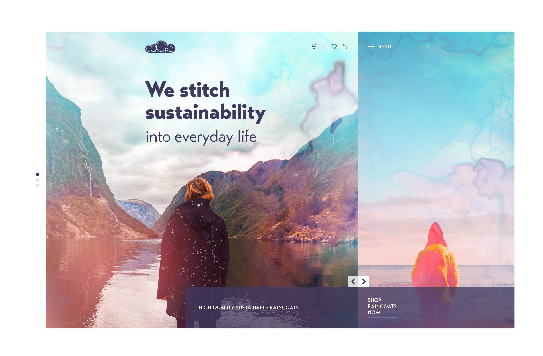 Concepts of a website for an apparel brand