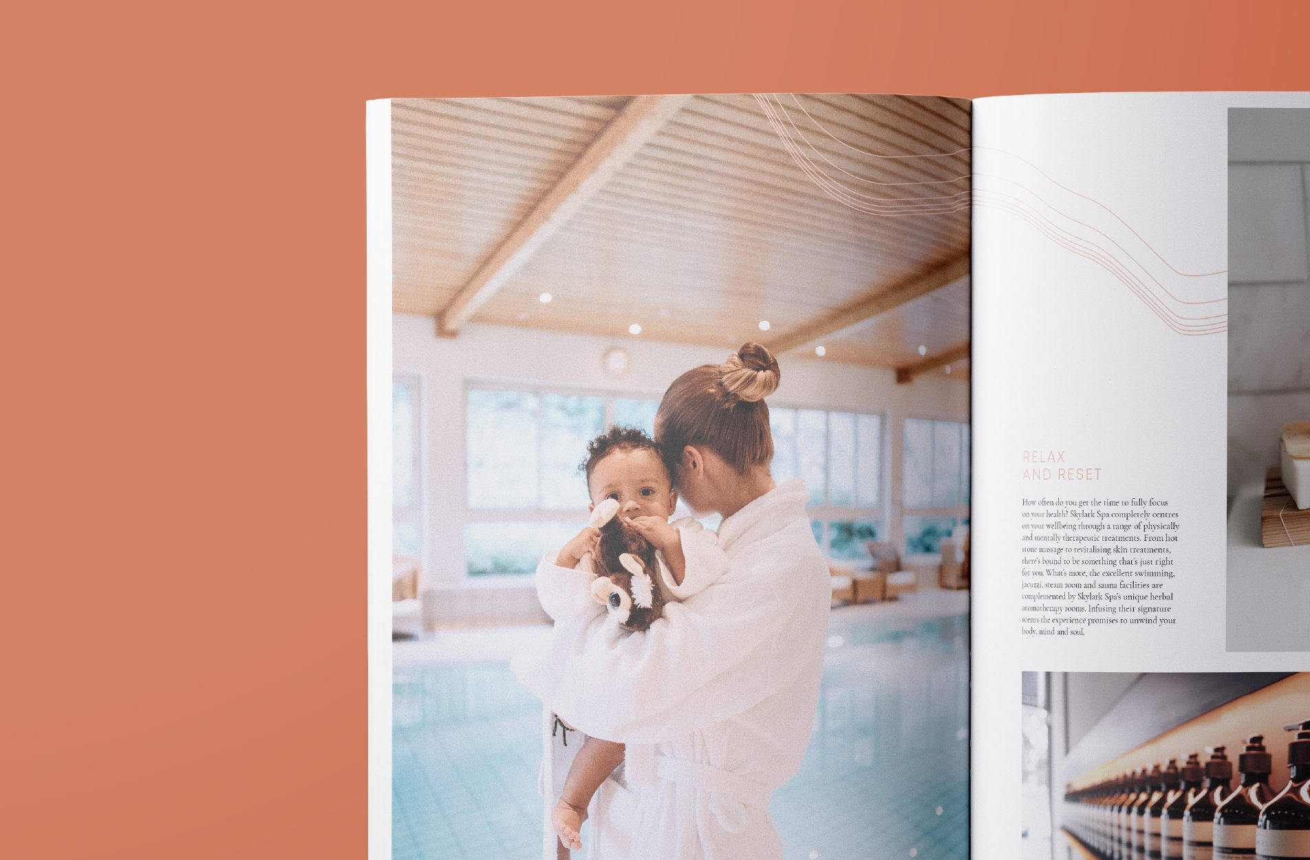 Brochure visuals that show a mother and child wrapped in soft white towels by the pool side