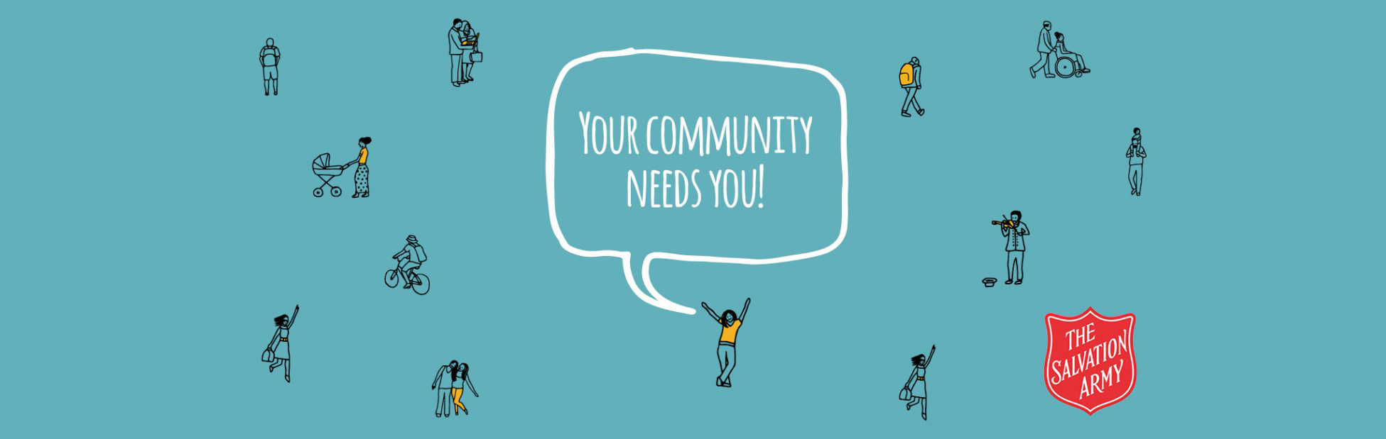 Salvation Army Header Image 'your community needs you' illustration