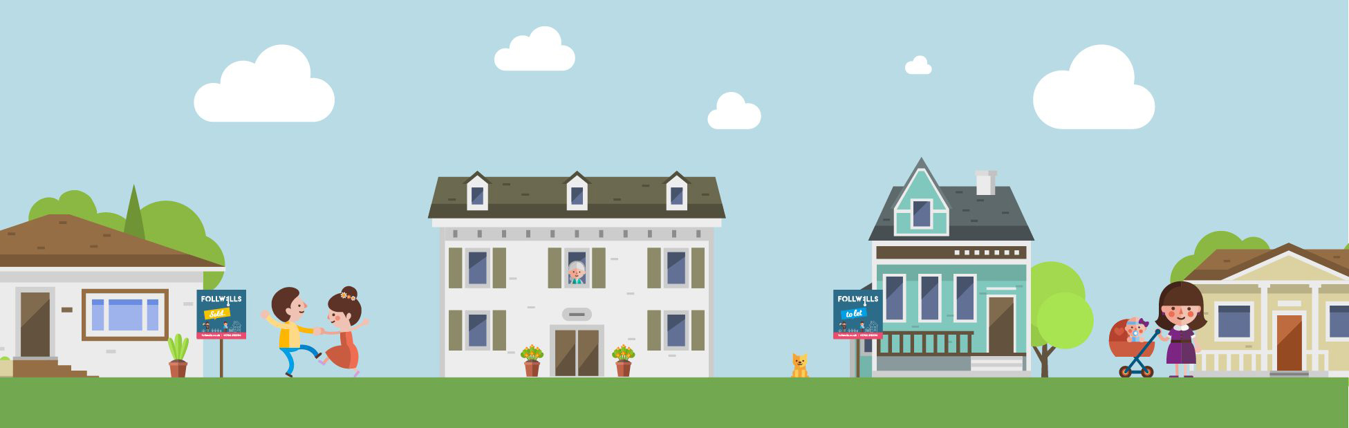 Follwells Header image with illustrations of homes and people