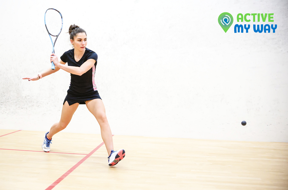 Together Active sub brand Logo 'Active my way' over image of woman playing tennis