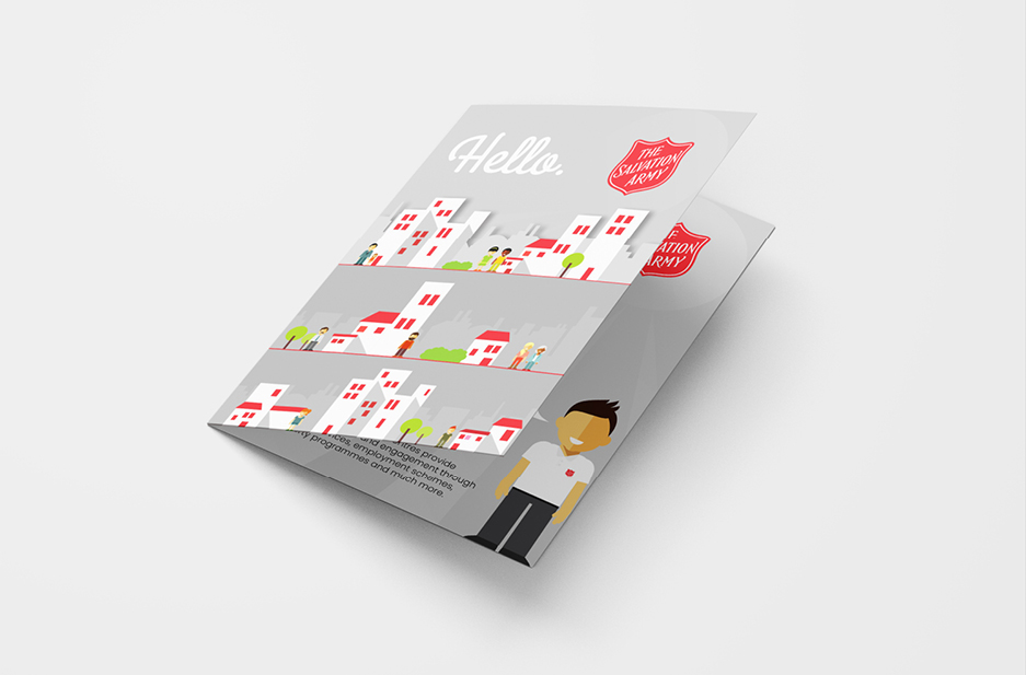Salvation Army 'Hello' Corp Hand out cover with illustrations