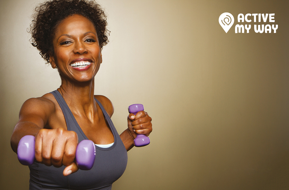Together Active sub brand Logo 'Active my way' on image on woman with weights