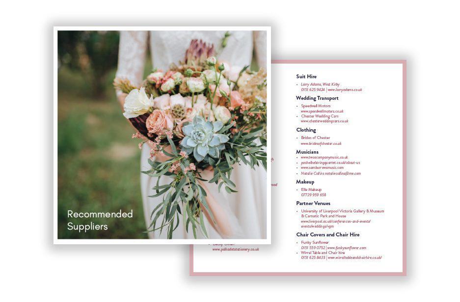 Ness Gardens Weddings brochure inserts