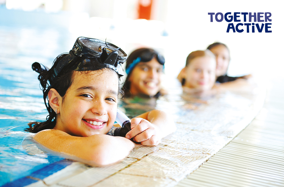 Together Active Logo over image of children swimming