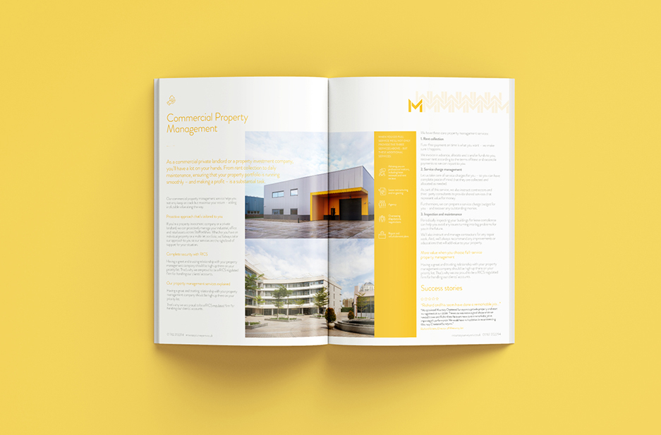 Mounsey corporate brochure spread 'Commercial Property Mangement'