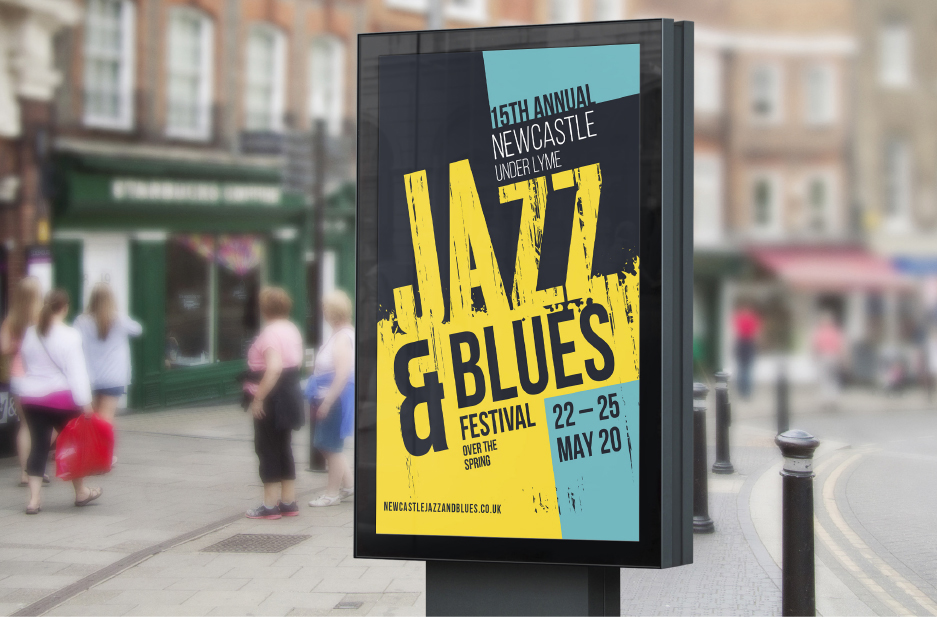 Newcastle-under-Lyme BID 'Jazz and Blues' event large format poster
