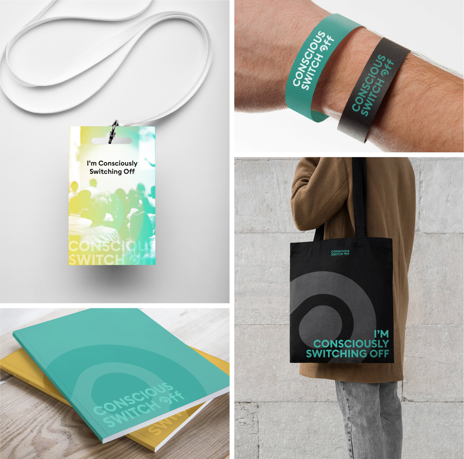 Branded items - Lanyards, bags, wristbands and brochures
